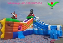 Funny commercial grade pvc cheap Inflatable Pirate Ship water slide for sale