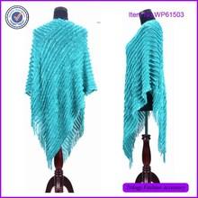 Plain Color Acrylic Knit Cape Shawl , Knitted Poncho Shawl