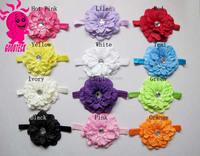 Latest Cute Baby Girl Crochet Headband Big Flower Baby Hair Accessories Rhinestone Flower Knitted Headband