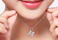 Sterling Silver 925 Diamond Alphabet Pendant Letter M