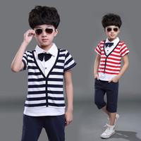 children boys clothing sets new 2015 navy design suits 2pcs sets(t shirt+short) school kids clothes