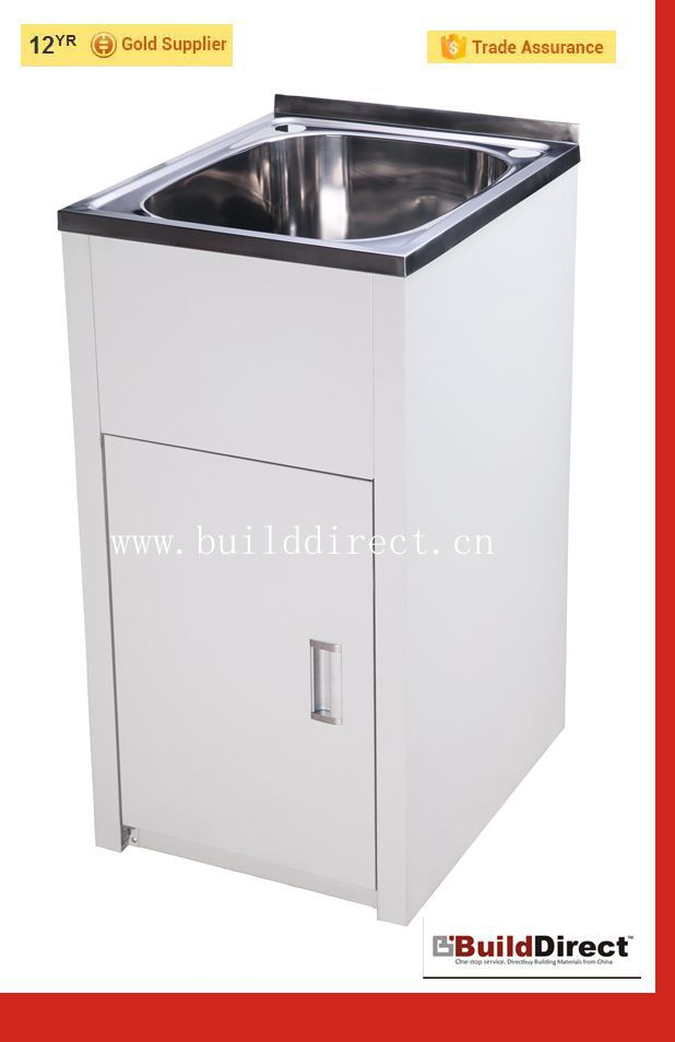 Laundry tub cabinet color board stainless steel laundry for Colored stainless steel sinks