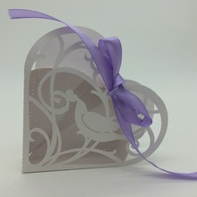 2015 Best selling White Bird Heart Shape laser cut wholeale candy box with ribbon chocolate favour box baby shower gift box