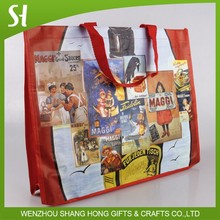 high quality china wholesale custom logo red pp laminated woven shopping bag with photo Image stitching for grocery package