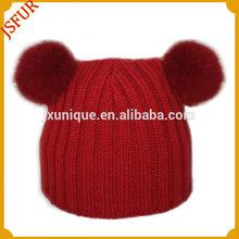 nuevo 2014 lindo diseño de piel de conejo personalizado pom de punto beanie sombrero de venta al por mayor