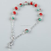 Religion Colored Pictures Metal Saint Rosary Bracelet