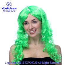 Hot sale cheap synthetic CURLY LONG HAIR WIG-GREEN WIG