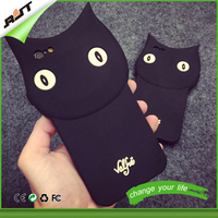 hot sale cartoon black cat soft silicone mobile phone case for iphone 6 6s 6plus, for iphone case