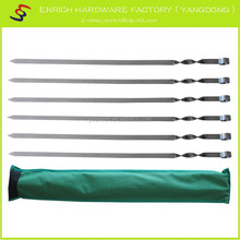 6pcs 60cm stainless steel bbq skewers set with nylon bag, easy carrying