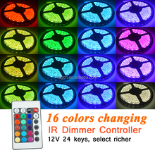 Installation is simple LED Strips RGB 5050 300LED 110-220V Integrated Power +24 button on the remote control + lights with