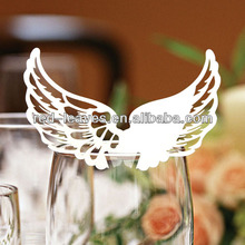 Laser Cut Angel Wings Place Card For Wine Glass EC1109-01