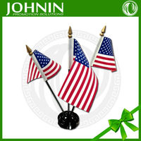 Custom polyester material and pp flagpole material country desk flag