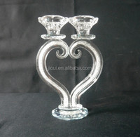 Hot Sale !!! Unique crystal heart-shaped candle holder with diamond for wedding table decration JKC-0004