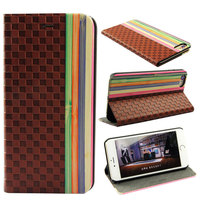 Flip leather phone case card holder mobile cover wood for iPhone 6 5.5""