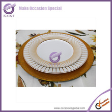 Cheap Wholesale Wedding Gold Silver Glass Beaded Charger Plates