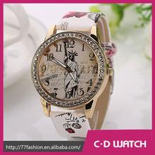 Nuevo llega la moda Casual cuero reloj de pulsera vestido relojes estatua de la libertad de la impresión del diamante reloj XR845