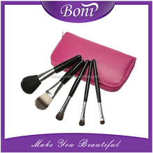 Professional 5 PCS Cosmetics Makeup Brushes Set with Zipper Leather Bag, Brand Make Up Brushes, Wholesales