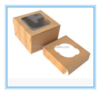 window paper cupcake packaging box with paper tray