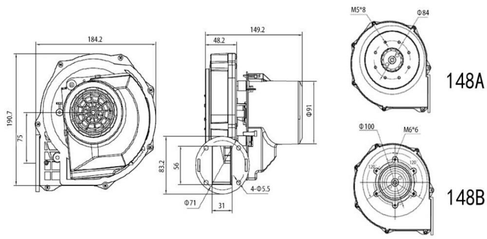 148mm small high pressure blower fan