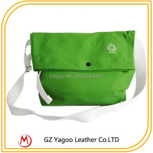 popular canvas material ladies bags green foldable canvas shoulder bags