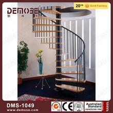 elegant wrought iron railing wood step spiral stairs