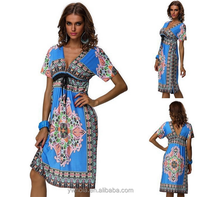2015 Summer Casual Korean Vintage Floral Print Dress New Fashion Lady Dress