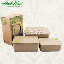 Dishwasher Safe Insulated Rectangular Container Set for Freshness Preservation made of Natural Rice Husk