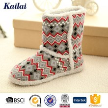 Attrative cashmere snow boots with fur trim liner