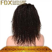 Fashion human hair brazilian kinky curly full lace wig