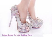 Handmade fashion Italian pink crystal diamond bridal wedding jeweled heel pumps shoes newest women high heels wedding shoes
