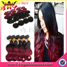 Top quality virgin hair weft fusion extension ombre color hair extensions