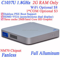 World's first C1037U fanless mini computer with 2G RAM only no HDD SSD 29MM extreme ultra-thin full alluminum HD Graphics NM70