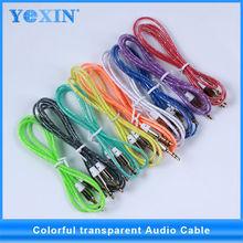 El más reciente de colores apartamento 3.5mm jack cable de audio estéreo de audio del coche de cable para el teléfono móvi