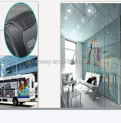 peforated film/see through one way vision vinyl plastic sheet film sticker, China supplier wholesale