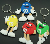 soft pvc blue M&M chocolate character face keychain keyring in stock for children gifts