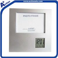 Photo frame insert clock with alarm and calendar