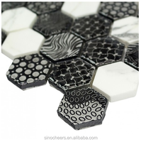 hexagon tile glass mixed mosaic