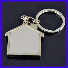 Hot sell Quality Customized House Shaped Metal Key Chain Ring, Make Your Own Logo House Shaped Metal Key Chain Ring