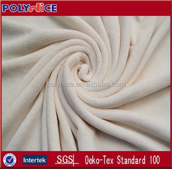 100% polyester warp knitted soft coral fleece fabric bushed dye solid color 150D/144F