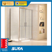 2015 hot sell luxury popular in Europe market middle acrylic tray white paint aluminum grey glass rectangle steam shower room