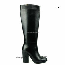 OB61western women cowboy black leather knee high boots