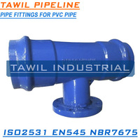 TAWIL ISO2531/EN545 Ductile iron all push on joint tee for PVC pipe