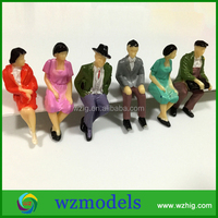 1;25 sitting painted mini plastic human figure /decorative toy human figure