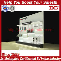 White wooden counter shelves for cosmetic display stand
