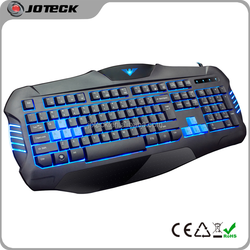 2015 best selling private mold 3 colors breath led light backlit gaming keyboard from keyboard manufacturer
