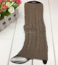Yiwu Manufacturer Wholesale Cable Knitted Plain Khaki Custom Leg Warmers