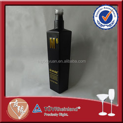 Square 500ml Vodka Black Frosted Glass Bottle Cork Top