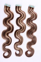 hot sell high quality remy brazilian virgin tape hair extensions body wave