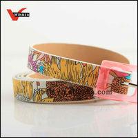 Silk printd women PU waist belt with plastic buckle