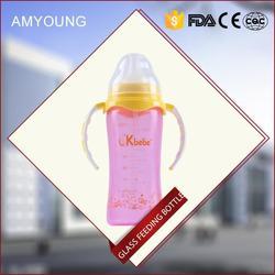 2015 hot sale new design straight body standard caliber glass baby bottle feeding